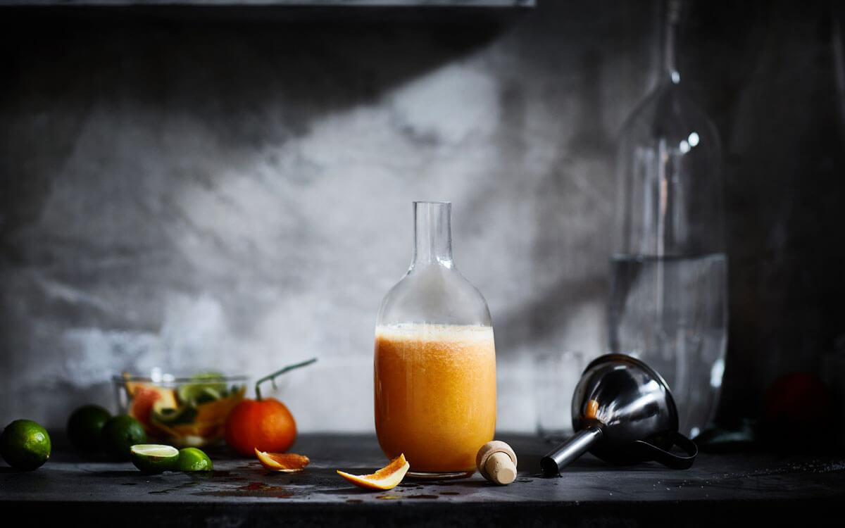Batido de naranja, lima y limón