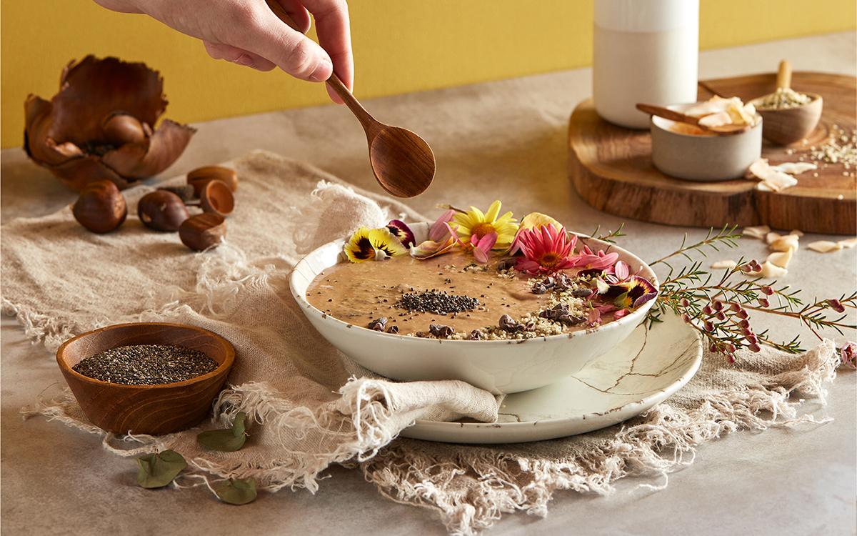 Desayuno de otoño con boniato y semillas